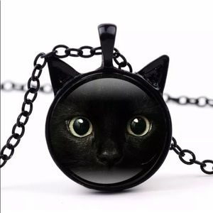 NEW WOT Black Cat Necklace with Black Chain
